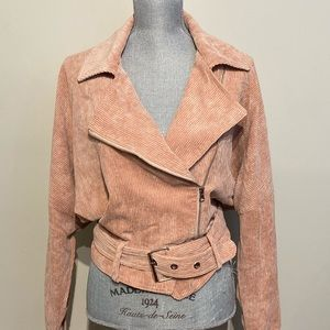 Jackets & Blazers - Blush corduroy batwing bomber style crop jacket